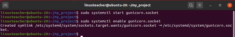 Start Gunicorn socket