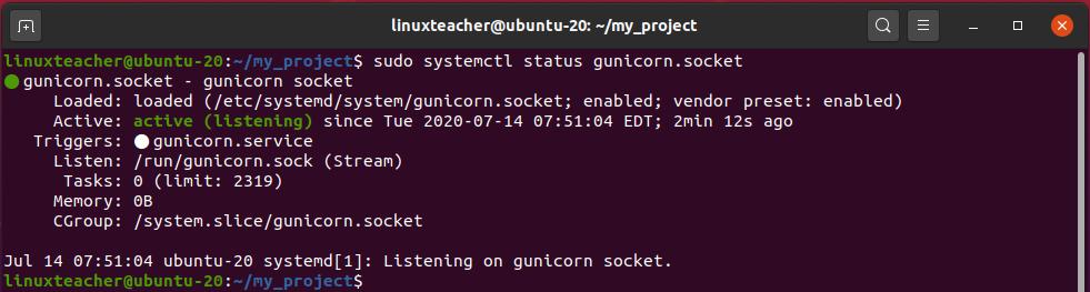 Check status of Gunicorn socket