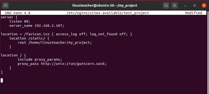 setup Nginx to proxy pass  to Gunicorn