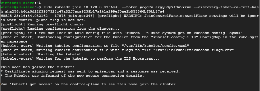 slave1-joined-to-kubernetes-cluster-on-ubuntu