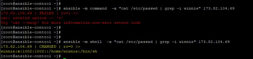 Ansible command module vs shell module