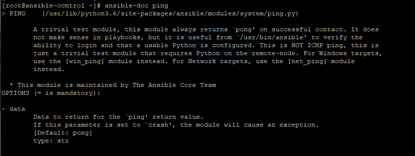 check detailed information about ping module