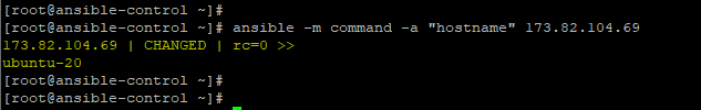 Ansible command module