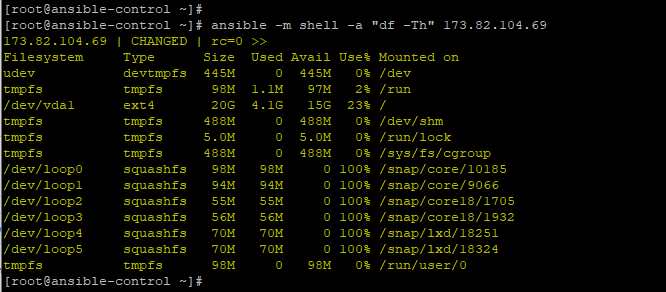 Ansible use shell module to check disk space