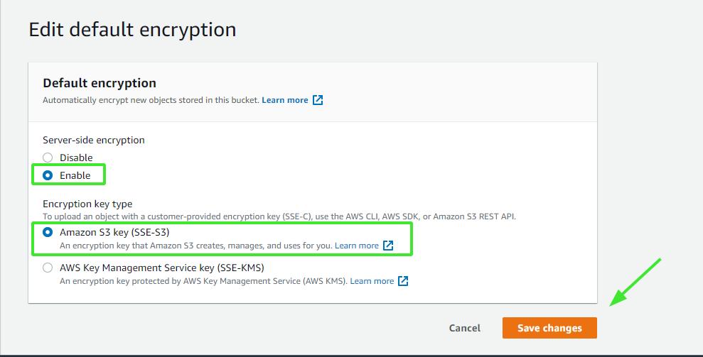 encrypt data in Amazon S3